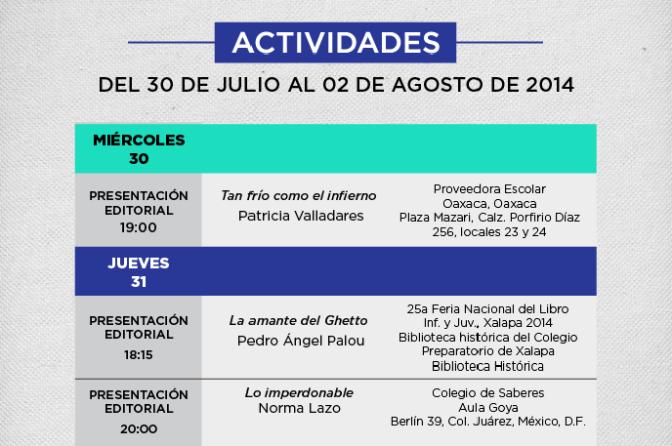 Presentaciones editoriales de esta semana (del 30 de julio al 2 de agosto)